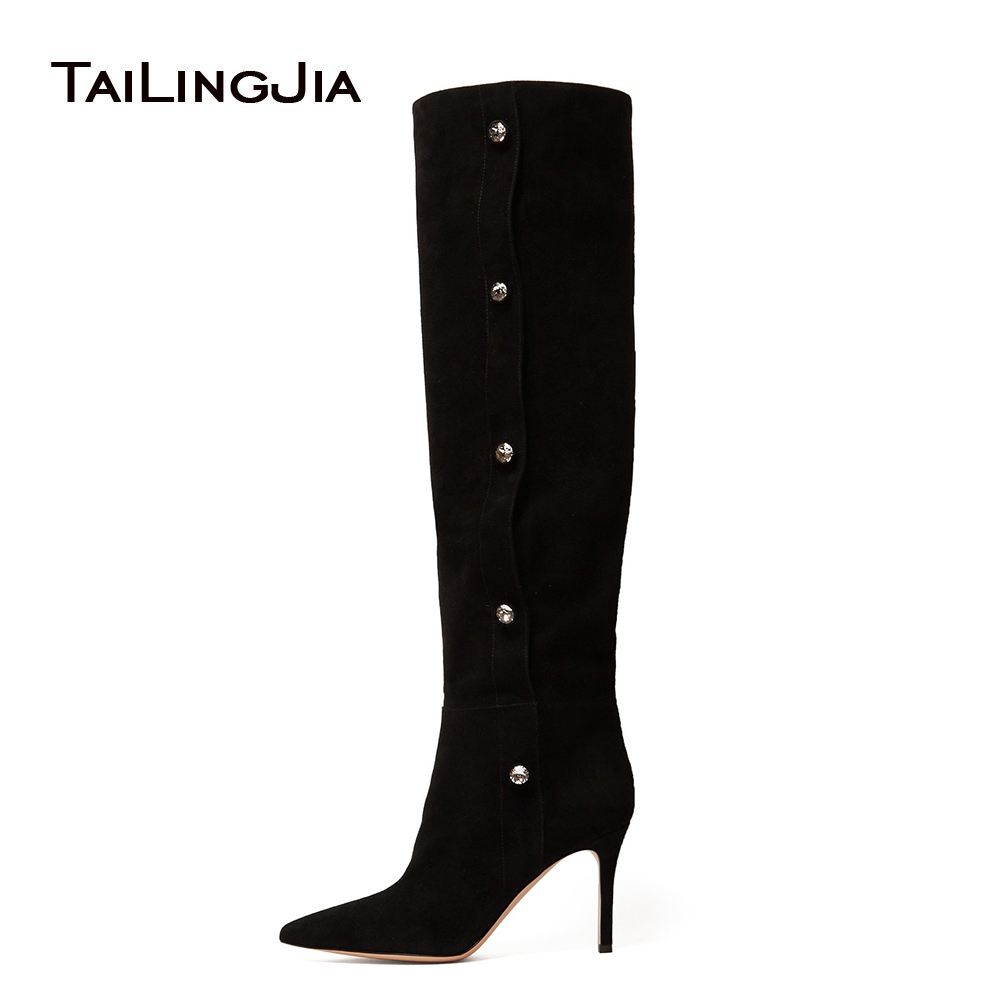 Woman Black High Heel 9 CM Point Toe Suede Knee Boots Ladies Winter Autumn Keep Warm With Button Stiletto Ladies Boots WholesaleWoman Black High Heel 9 CM Point Toe Suede Knee Boots Ladies Winter Autumn Keep Warm With Button Stiletto Ladies Boots Wholesale