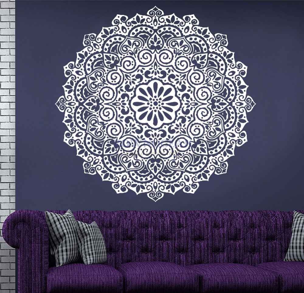 High Quality Hindu Mandala Yoga Indian Round Vinyl Stickers Wall Stickers Home Decor Living Room Household Products Datura MA-05