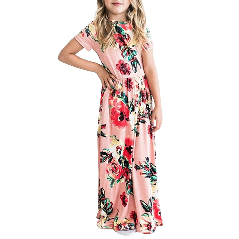 Teenage Girls Clothing Flower Dress Casual Beach Party Bohemia Maxi Long Dresse Casual Sundress Outfits Beachwear For Children