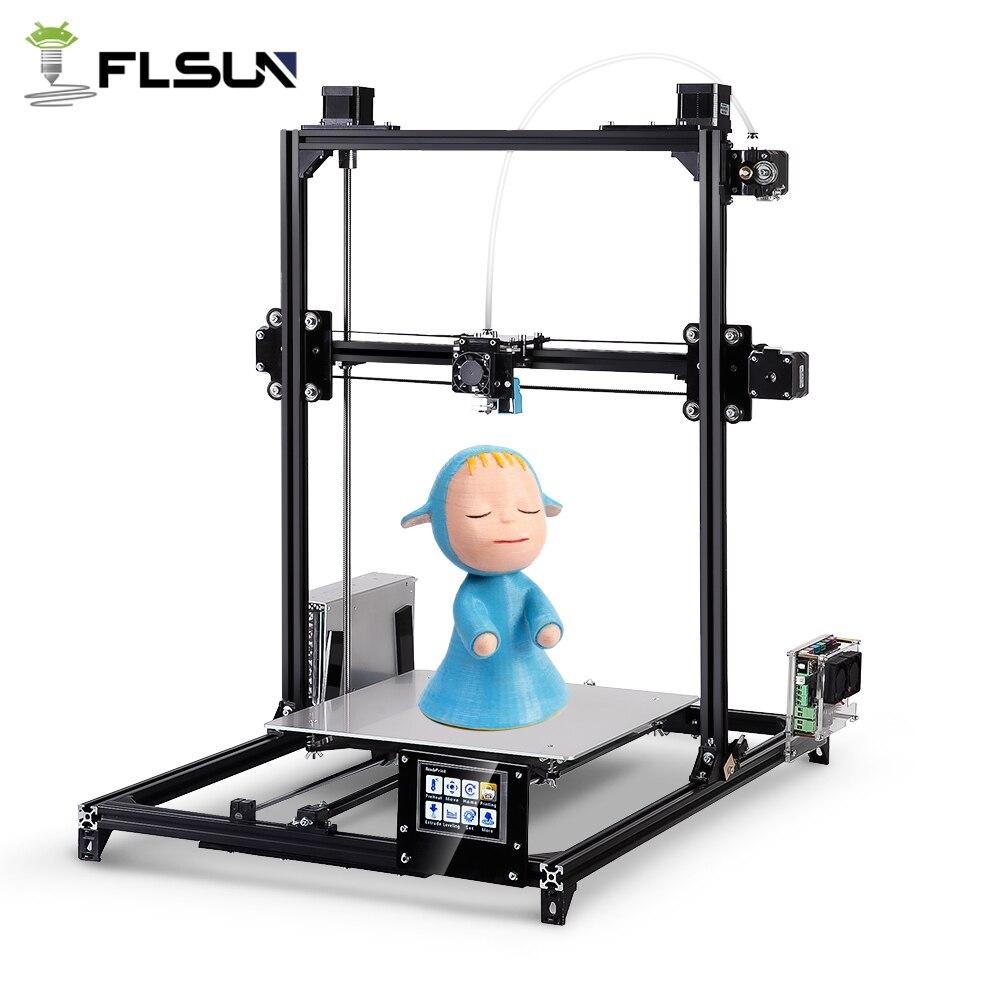 Flsun I3 3d Imprimante Plus Impression Taille Écran Tactile Double Extrudeuse Auto Nivellement DIY 3D Imprimante Kit Chauffée Lit Deux rolls Filament