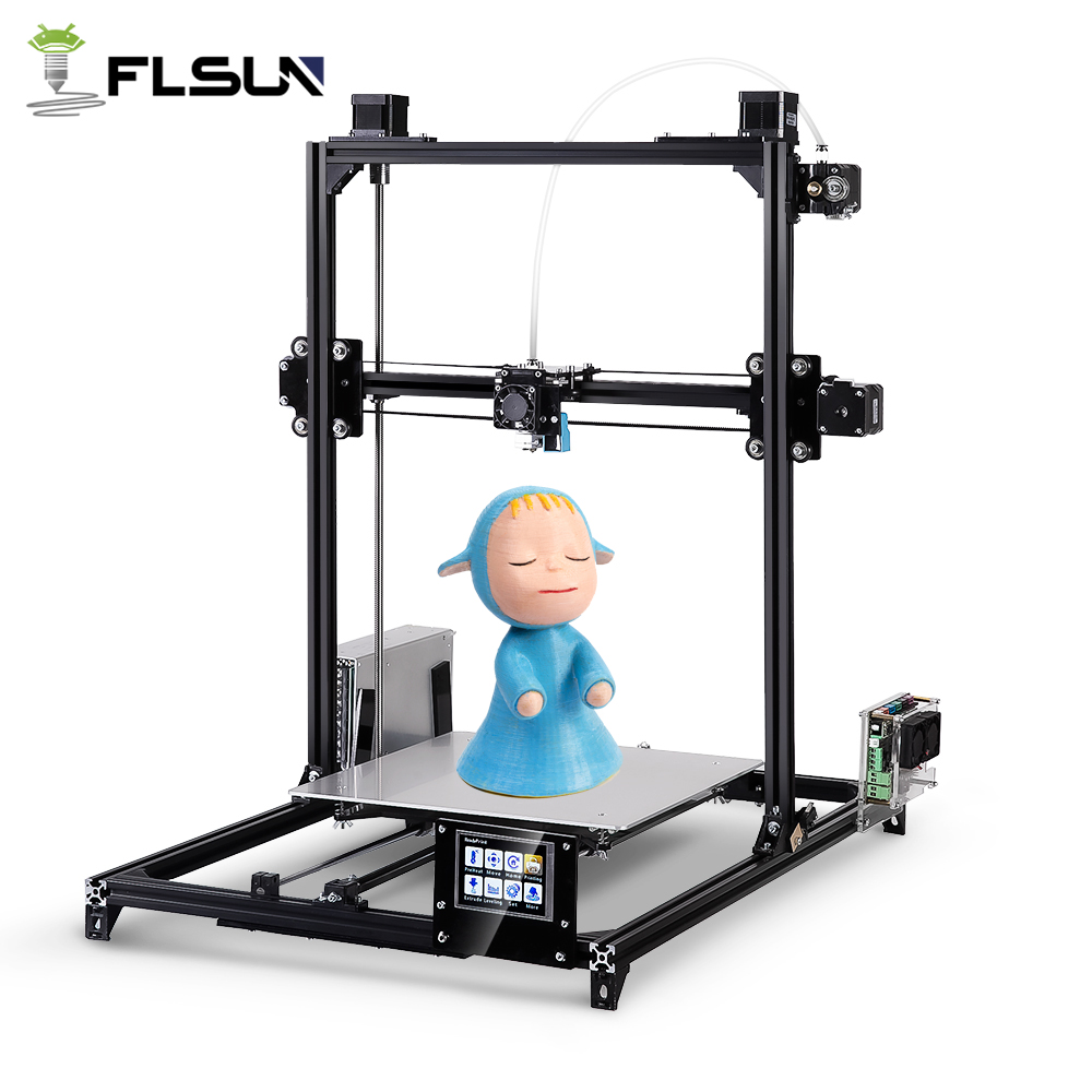 Flsun I3 3d Printer Plus Printing Size Touch Screen Dual Extruder Auto Leveling DIY 3D Printer Kit Heated Bed Two Rolls Filament drone with camera rc plane qav 250 carbon frame f3 flight controller emax rs2205 2300kv motor fiber mini quadcopter