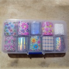 10Pcs Flower Nail Foils For Holographic Laser Nails Transfer Foil Wraps Sticker 10 Colors Starry Sky Tip Nail Decorations NZ06-2 royal blue starry sky holographic nail art transfer foil nails sticker decals nail tip decoration 5cm 120m roll