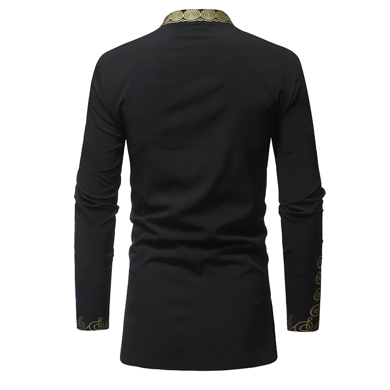 Nationalité Noir Casual Longues À Impression rouge D'origine Chemise Streetwear Hommes Africaine Manches De blanc Style Mens Chemises wxX6q61vp