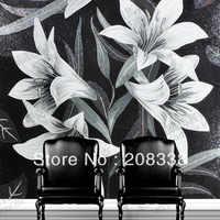 Lily Blumen Glas Mosaik-fliesen Moderne Kunst Wandbild, sofa hintergrundwand eingangsbereich bad, wandbilder, wand-dekor