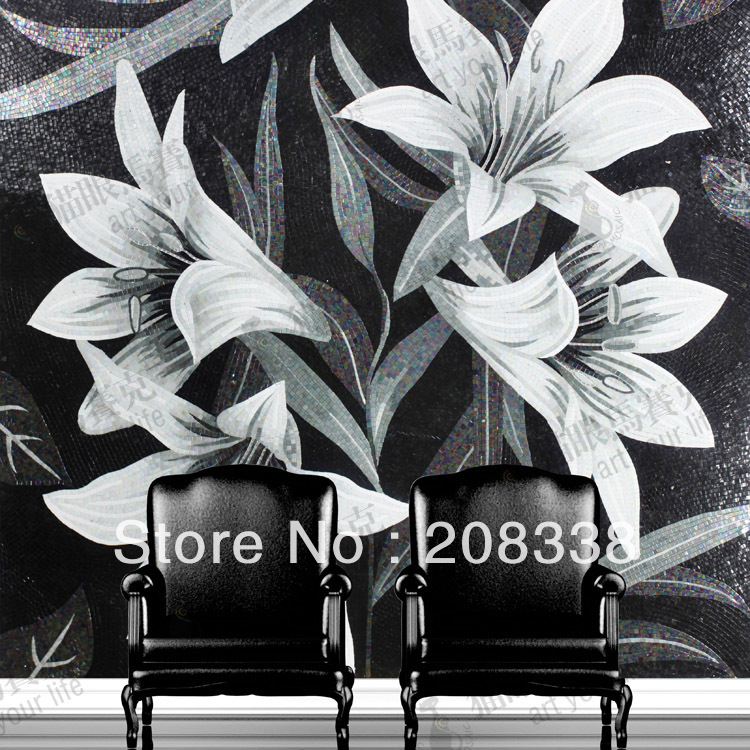 Lily Flowers Glass Mosaic Tile Modern Art Wall Mural, sofa background - Home Decor