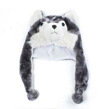 2684999e21481 Cartoon Animal Husky Wolf Fluffy Plush Hat Cap Scarf Earmuff Adult Kids  Women Girl(China