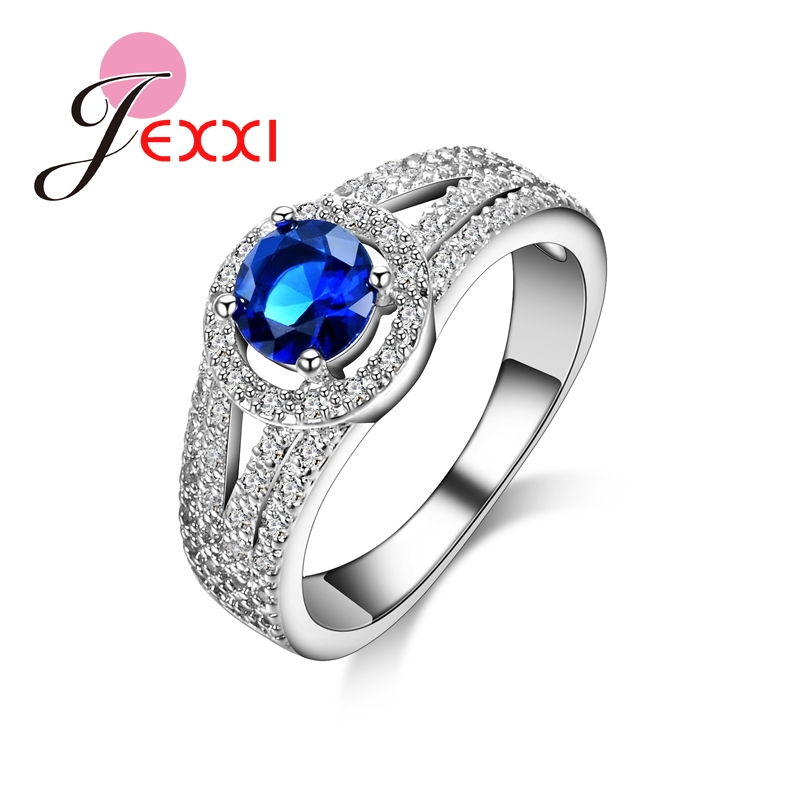 JEXXI Hot Special Design Fine And Smooth Sapphire Austrian Crystal 925 Sterling Silver Rings Engagement Rings Ladies Jewelry