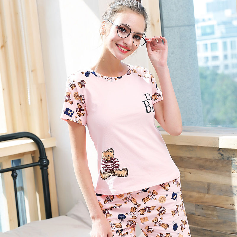 WLSD   Pajama     Sets   For Women Casual Cotton Short Sleeve   Pajamas   Pijama Girls Cute Cartoon Print Shorts Sleepwear Pyjama Summer