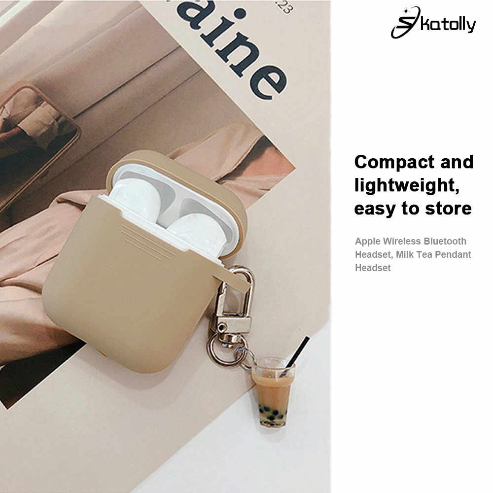 Wireless Bluetooth Headset Protective Sleeve Cover Case for Airpods Wireless Earphone Charging Case with Milk Tea Hanging Buckle