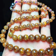 Top Quality Natural Cacoxenite Gold Rutilated Gemstone Necklace Women Lady Best Crystal Round Beads 4-11mm Certificate AAAAA