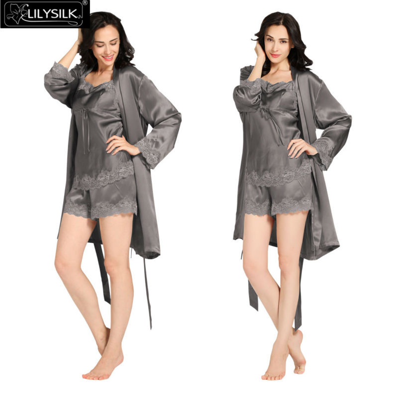 1000-dark-gray-22-momme-short-lacey-silk-camisole--dressing-gown-set