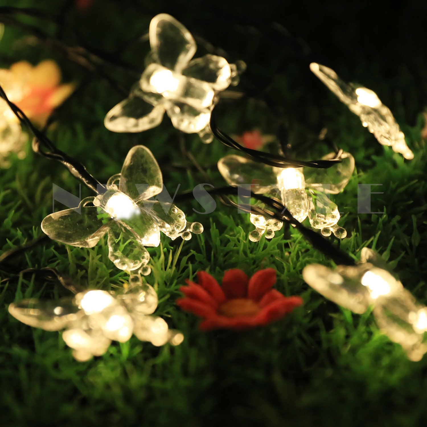 Night lights holiday - Solar Led Christmas Night Lights 15ft 20 Led Fairy Butterfly Lights For Party Brithday