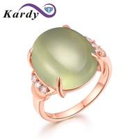 Великолепный Зеленый Пренит натуральный камень Для женщин Diamond 14 К розовое золото свадебные Обручение моды кольца