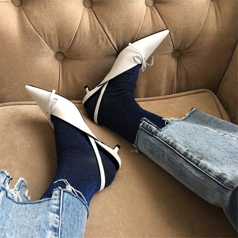 En as Satin Cuir Show Véritable Dame Luxe Chaussures Talons Bout De Bowtie Femme Étrange Pompe Mariage Show Talon Stiletto Mode Hanbaidi As Pointu Ex1Zqax