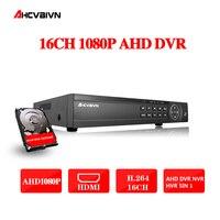 AHD DVR 16ch 1080 P домашнего наблюдения 16 каналов 1080N безопасности CCTV DVR видео рекордер HDMI 1080 P 16 каналов AHD видеорегистратор NVR 2 ТБ