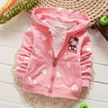 2016 New spring100% cotton Casual Baby Girls Cartoon Kitty love heart Pattern Children's Sweatshirts Outwear Coats Hoodies Y1389