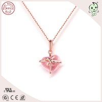 Customized Top Quality Popular And Cute Pink Gold 925 Real Silver Bowknot Heart Pendant With Different