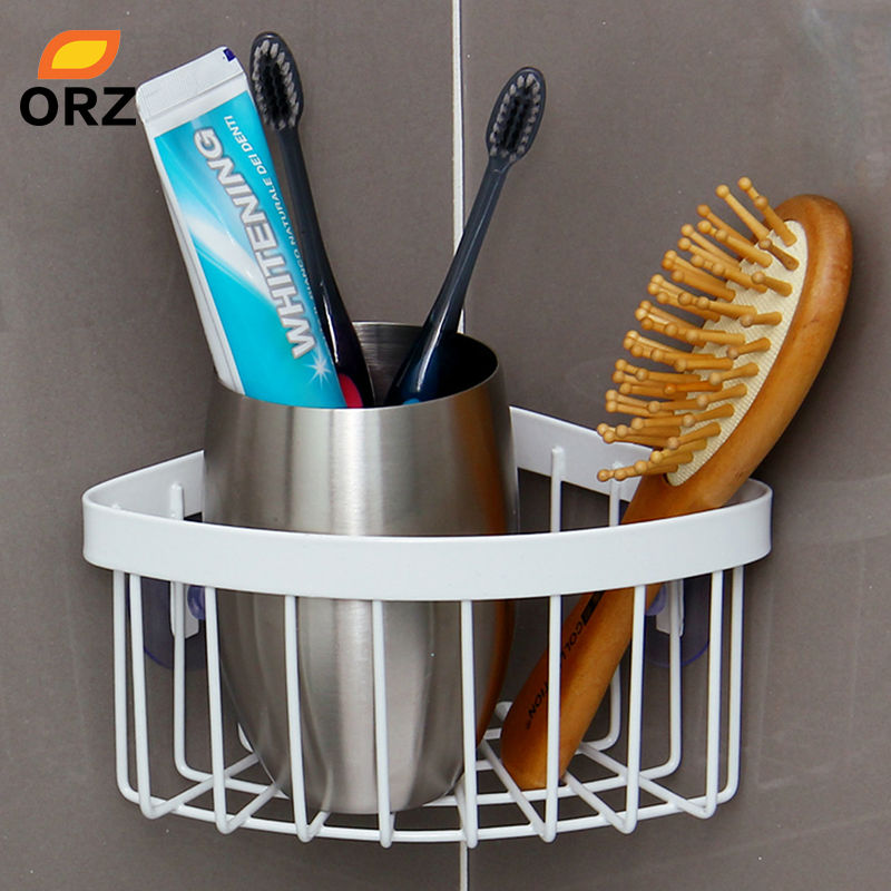 Kitchen Shelf Corner Shelves Sink Metal Rack Bathroom Shower Wall Mounted  Sucker Soap Dish Toothbrush Storage Holder Basket In Storage Holders U0026 Racks  From ...