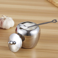 Single Stainless Steel Kitchen Sugar Bowl Condiments Container Small Free Shipping