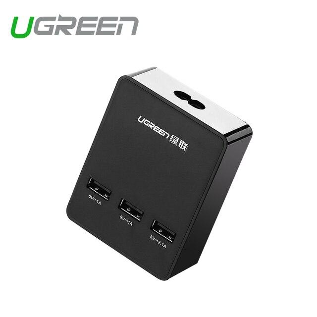 Ugreen usb carregador de parede carregador de viagem universal uk plug ue 3 portas 5v4a carregador de telefone celular inteligente para xiaomi lg