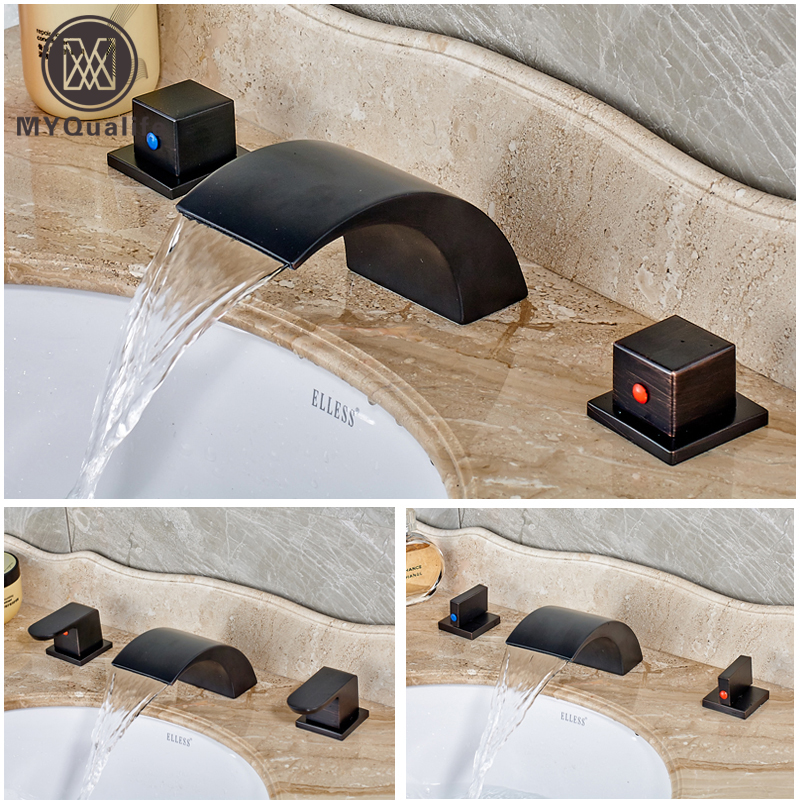 Deck Mounted Dual Handles Waterfall Mixers Faucet Bathroom Widespread Bath Spout Water Taps Oil Rubbed Bronze Finish widespread black bathroom faucet deck mounted waterfall bath sink basin hot and cold water taps dual handle mixers