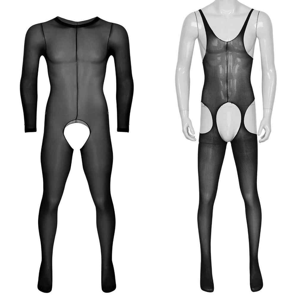 Hommes Sissy transparent sans entrejambe corps complet collants bas Body sous-vêtements gai collants grande taille femmes Lingerie