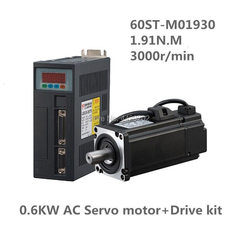 60ST-M01930 220V 600W 3000RPM AC Servo motor 1.91N.M. Single-Phase ac servomotor drive permanent magnet Matched Driver AASD-15A 60st m01930 600w ac servo motor cnc 0 6kw 3 5a 1 91n m 3000rpm with servo driver servo cable servo connector