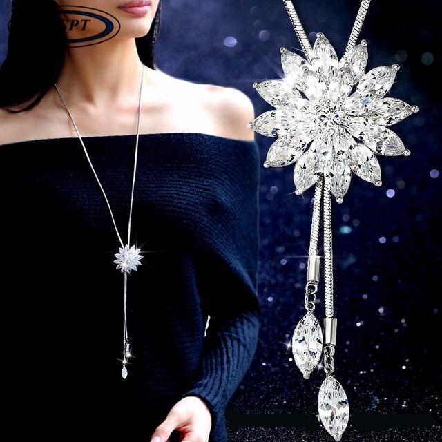 BYSPT Zircon Flocon De Neige Long Collier Chandail Chaîne De Mode Fine Chaîne En Métal Cristal Strass Fleur Pendentif Colliers Ajusté