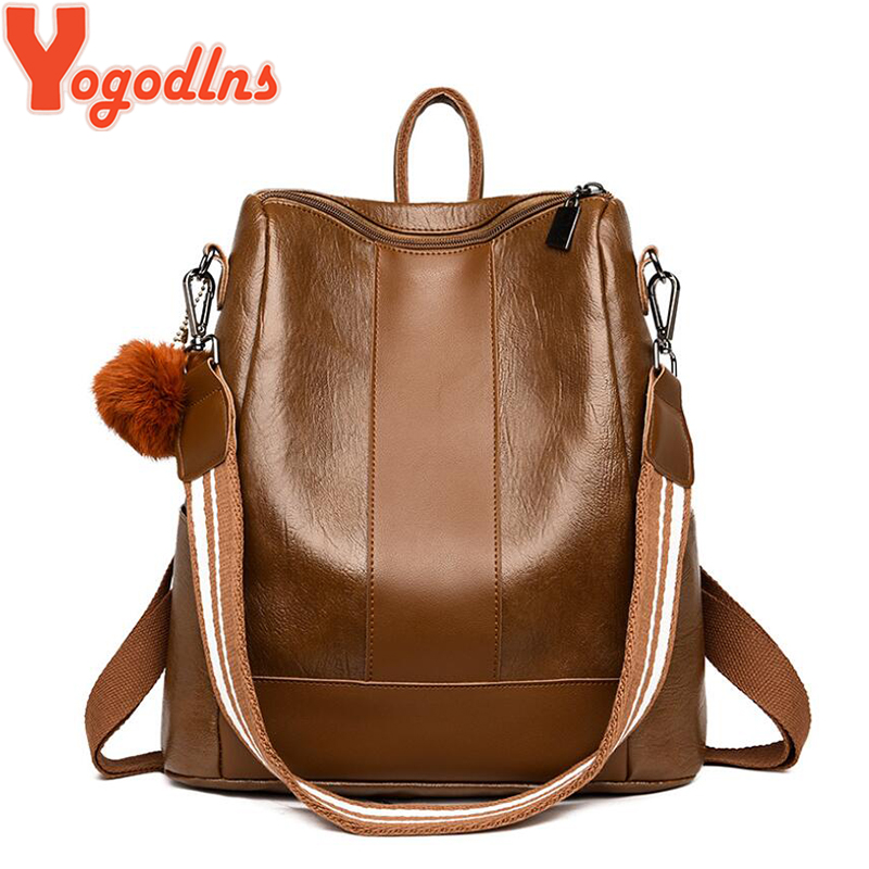 Yogodlns Vintage Women Backpack Book Bags Preppy Style School Back Bags For Teenage Girls Fur Pendant Bag