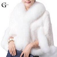 Women Faux Fur Jacket Coat Mink Hair Rex Rabbit Hair Cape Jacket White Fur Overcoat Rabbit Fur Faux Fox Parka RH240