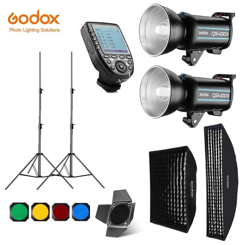 Godox QS400II 2x 400Ws Photo Studio Flash Lighting XPRO Trigger Softbox 280cm Light Stand Barn Door