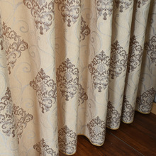 Curtains for Living Dining Room Bedroom Continental Chenille Jacquard Embroidery Fabric Tulle High Shade Curtain
