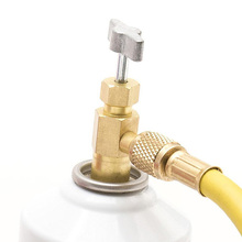 For R134A Refrigerant 1/2 ACME Threads 1/4 SAE Bottle Opener Adapter A/C Can Tap Valve Brass Gold