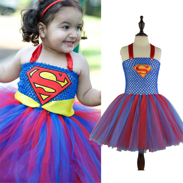 6ffcd657 Girl Tutu Girls Superman Party Dresses Supergirl Children Cosplay Costume  Kids Super Hero Fancy Clothing Ball Gown Christmas