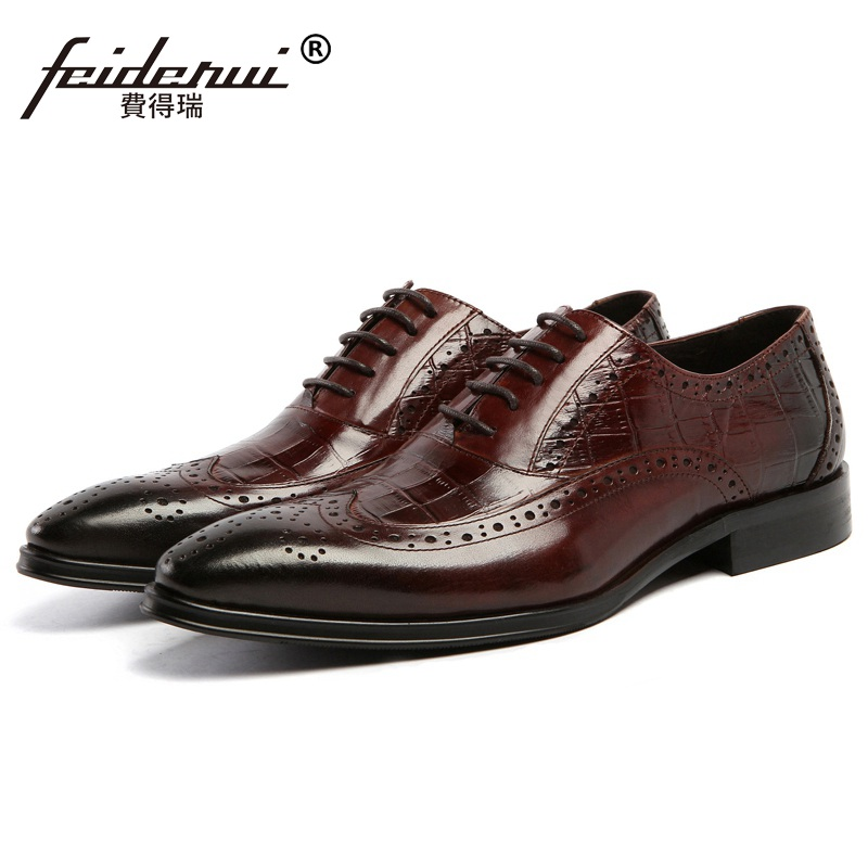 New Vintage Brand Man Carved Brogue Shoes Genuine Leather Alligator Oxfords Pointed Toe Lace up Men's Handmade Flats AS17 brand new spring men fashion lace up leather retro brogue shoes casual flat breathable carved shoes bullock oxfords shoes wb 55