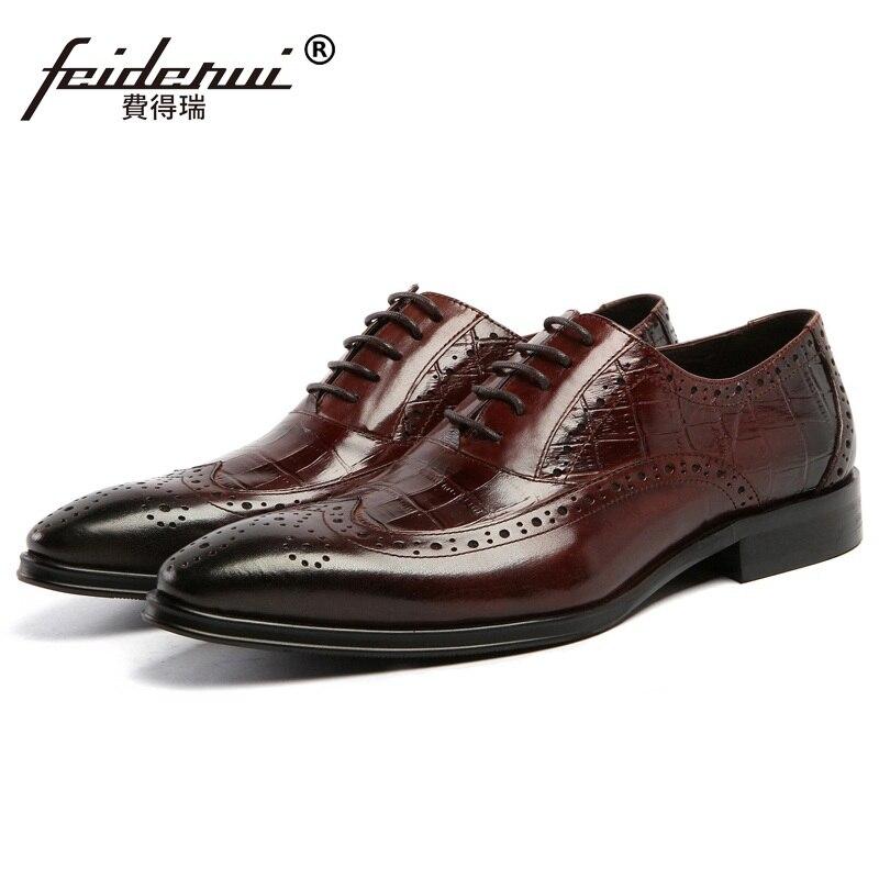 Cocodrilo Arriba Brogue A Cuero Tallado Vintage As17 Mano marrón Zapatos De Hombres Estrecha Nuevo Hombre Punta Planos Encaje Negro Auténtico Oxfords Marca Hechos WAU8nqYqO