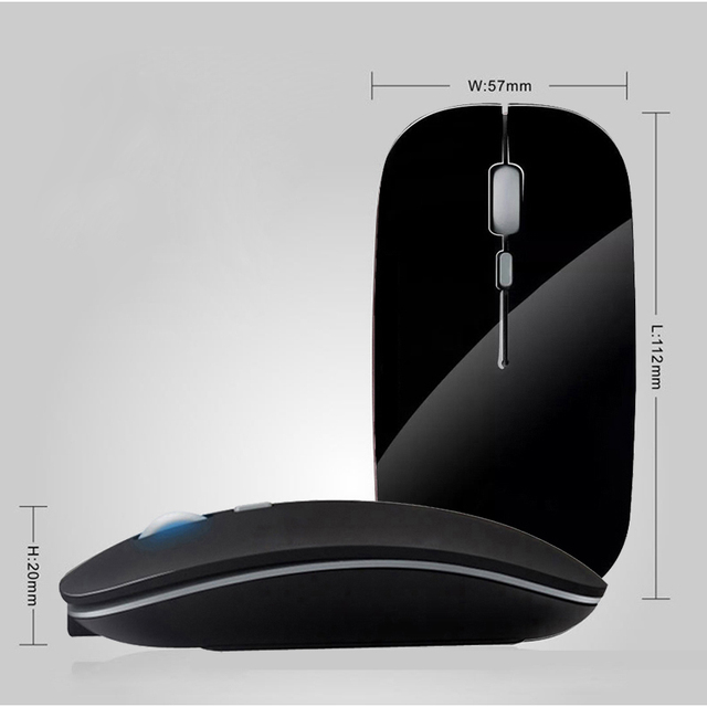 Cliry Rechargeable Wireless Mouse Slient Button Ultra Thin Mini Optical Ultrathin Mice With Charging Cable for Computer Laptop