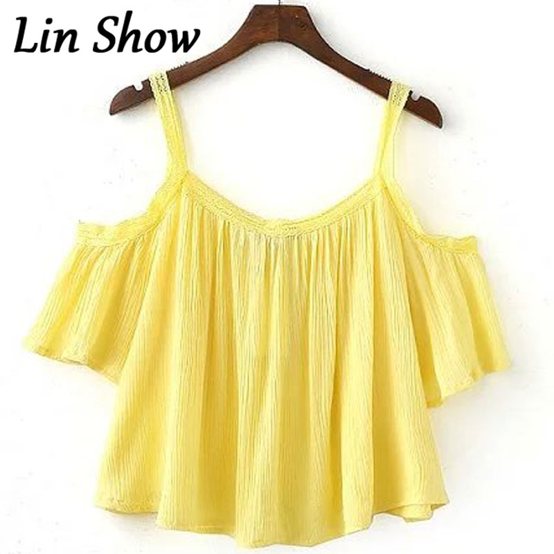 00019e578e3 Crochet Loose Off Shoulder Solid Women Blouses Summer Cute Yellow Beach  Female Vestidos Backless Sexy Casual Camis Shirts TL7909-in Blouses   Shirts  from ...
