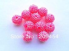 20mm 100 pçs/lote Brilhante Rosa Quente AB Resina Strass Bola Contas, Chunky Beads Para Crianças Fazer Jóia