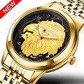 TEVISE роскошные золотые часы для мужчин автоматические мужские часы светящиеся стрелки Животное орел механические наручные часы 2018 новые ча...