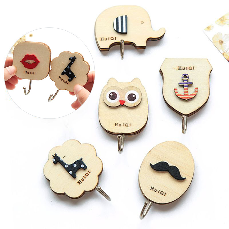Wooden Cartoon Hanger Key Holder Wall Hooks Coat Towel Hanger Cute Animal Wall-Mounted Hook Minimalist Home Decoration Organizer