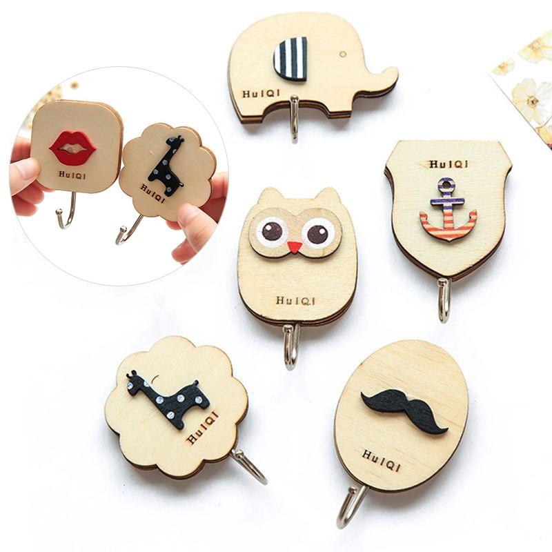 Wooden Cartoon Hanger Key Holder Wall Hooks Coat Towel Hanger Cute Animal Wall-Mounted Hook Minimalist Home Decoration Organizer