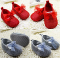 New arrival wholesale Red/Grey Colors Newborn Baby Moccasins Soft Bottom Anti-slip Baby Shoes Princess Mary Jane girls Shoes