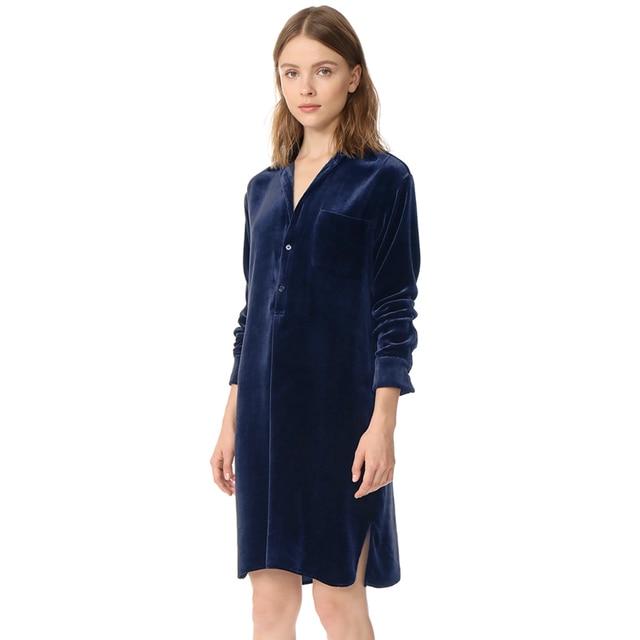 1ae064eee68 Blue long sleeve lapel collar velvet shirt dresses women spring autumn  ladies casual side slit loose midi velour straight dress