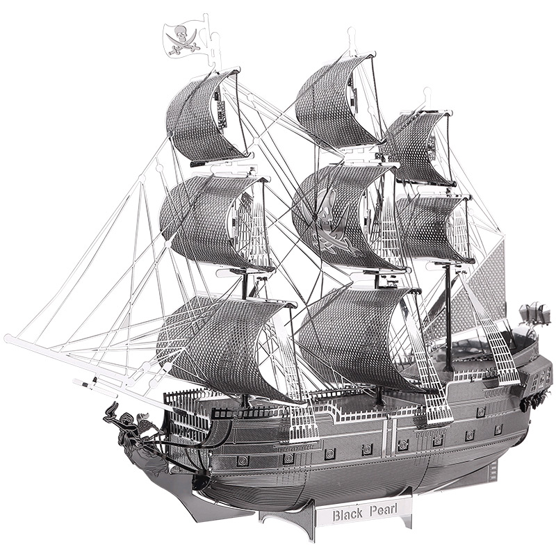 3D Metal Puzzle Black Pearl Pirate Ship Assembly Metal Model Kit DIY 3D Laser Cut Model Puzzle Toys Gift