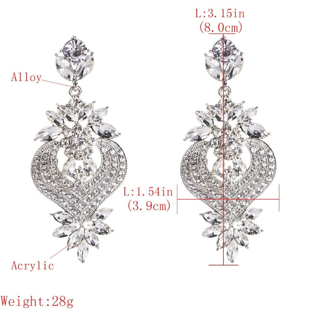 Rhinestone Statement Earrings For Women Flower Drop Dangle Earring 19 Fashion earing Trendy Wholesale Wedding Jewelry 3