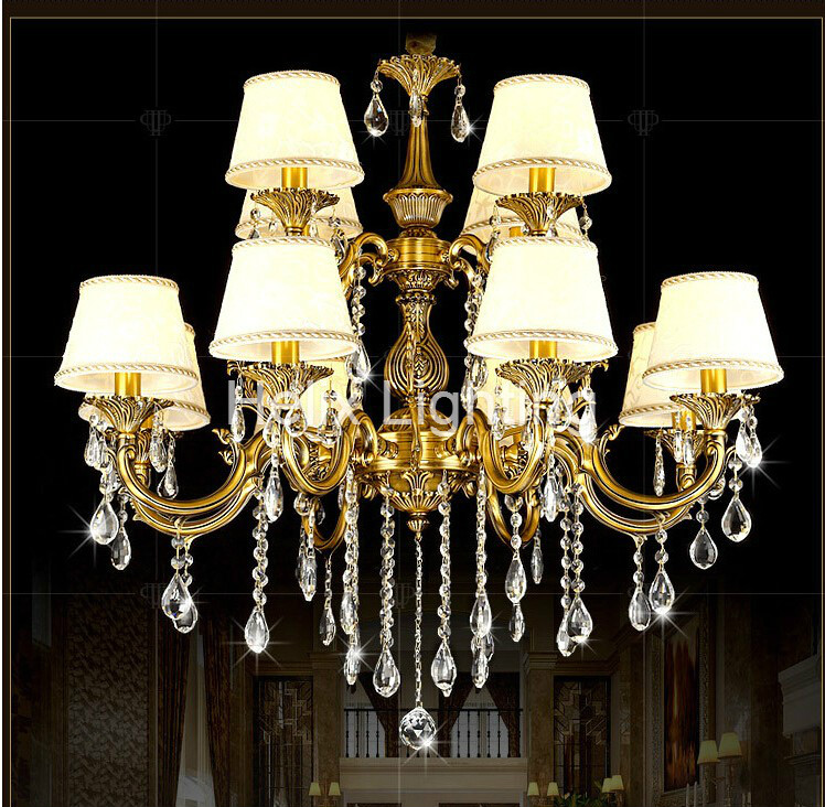ФОТО Newly Free Shipping 100-240V Romantic Brass chandelier Copper Chandelier Pendant K9 Golden Crystal Penadnt Lamp 100% Guaranteed