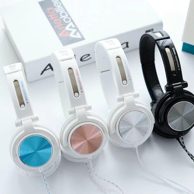Fashion Metallic Appearance 3.5mm Folding Stereo Headphone Foldable Headset Headband Big Earphone For Phones MP3 With Microphone