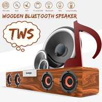 20W TWS Portable Wooden bluetooth Speaker Wireless Soundbar Bass Music Box Subwoofer Stereo Wireless Speakers for Home Phone PC