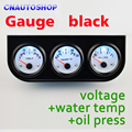 Black Auto Gauge Holder 3 In 1 Kit (Voltage + Water Temperature + Oil Press) Triple Car Meter Dashboard FREE SHIPPING